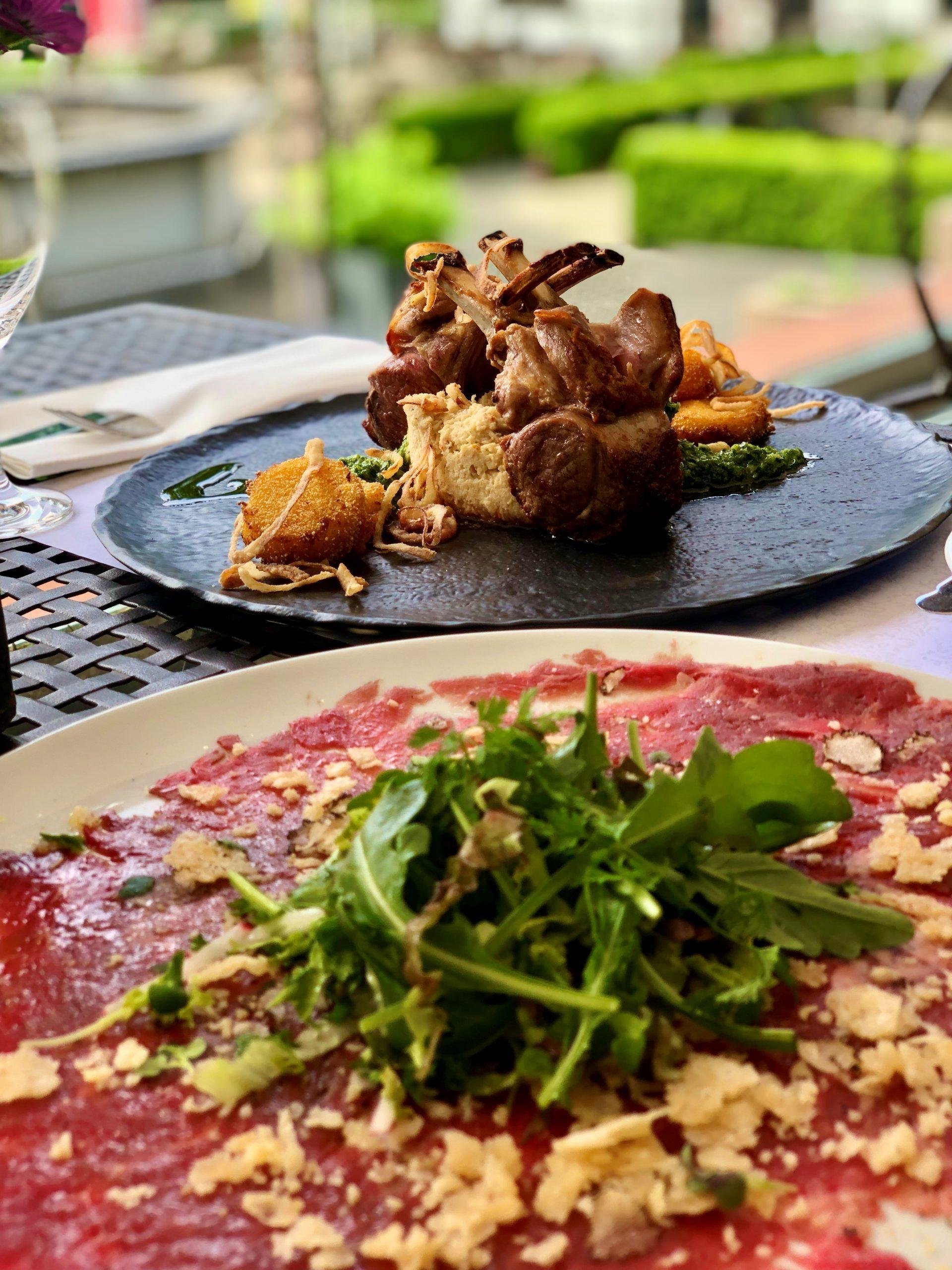 Carpaccio, Lammkarree, feines Fleisch, exklusives Dinner